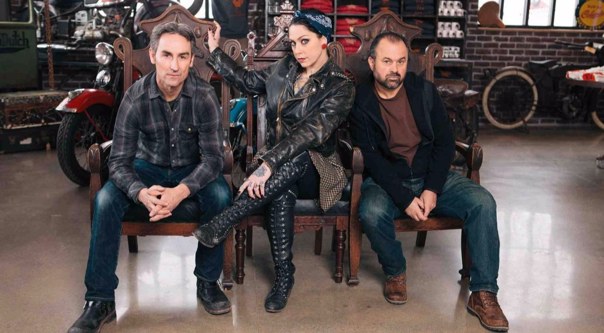 American Pickers stars Mike Wolfe, Danile Colby and Frank Fritz from left to right