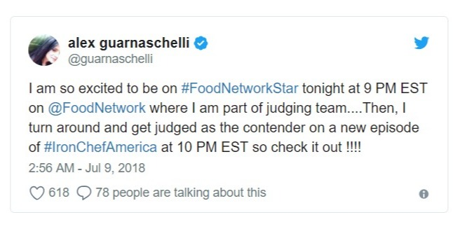 Alex Guarnaschelli's tweet regarding the Food Network Star and Iron Chef Chef America