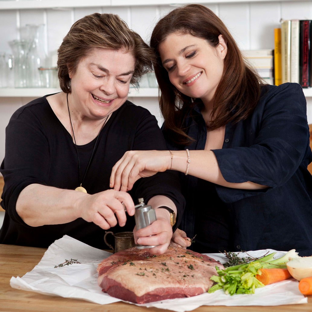Alex Guarnaschelli cooking with her mother Maria Guarnaschelli