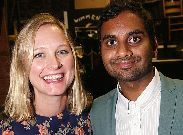 Aziz Ansari next to girlfriend Courtney McBroom, she's wearing a floral top and has a bob cut
