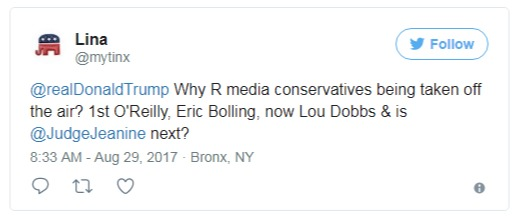 One of the conservatives follower, tweeted mentioning Donald Trump in a question why Fox News' hosts have been fired. Many of Eric Bolling's fans are asking him when he is returning on-air.