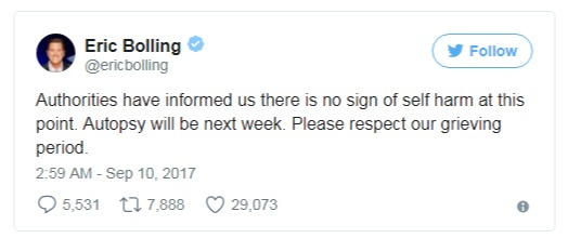 Eric Bolling tweeted that authorities claimed that there's no sign that their only son has committed suicide.