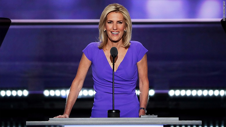 American preservative commentator Laura Ingraham smiling while speaking on mike