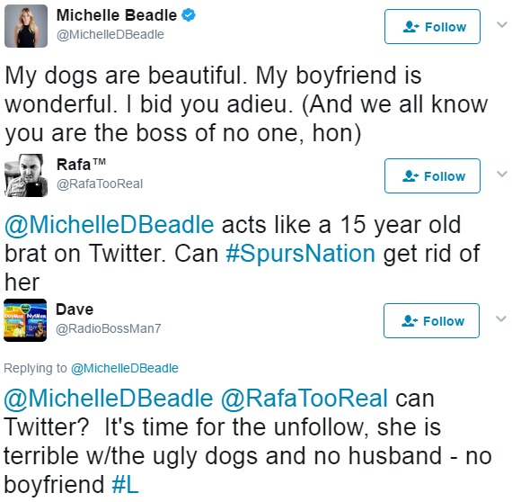 When Michelle Beadle tweeted about her boyfriend and dogs, fans replies were completely negative