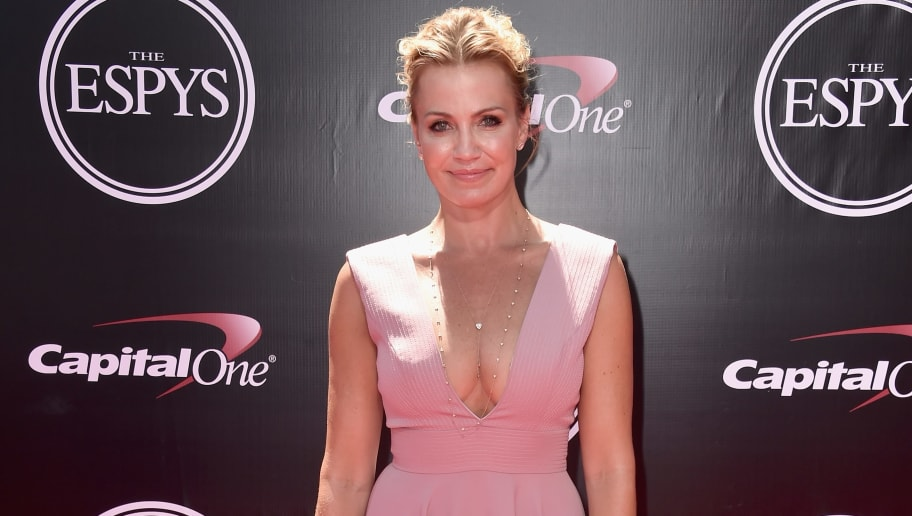 Michelle Beadle wearing a beautiful pink dress. Michelle Beadle is set to leave ESPN