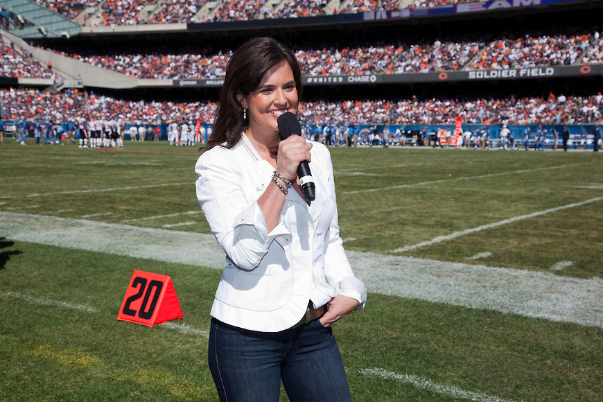 Amy Freeze, the hot weather caster from FOX, Chicago, reporting weather at a Chicago Bears Game.