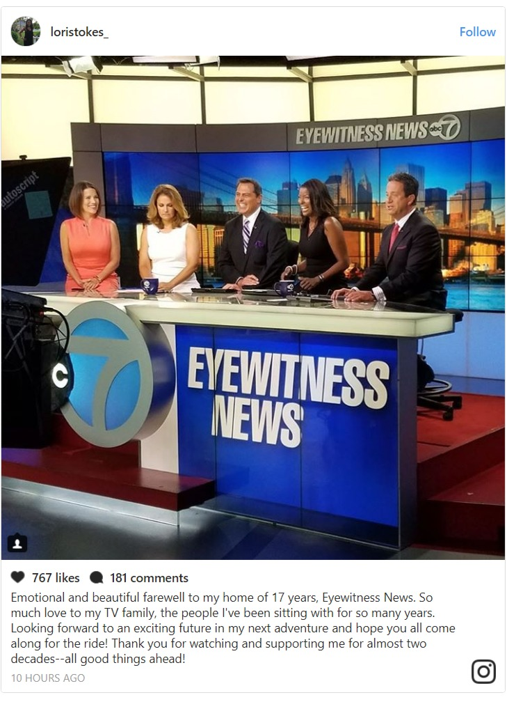 Lori Stokes Instagram post about leaving Eyewitness News