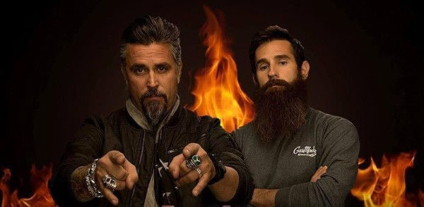 Aaron Kaufman and Richard Rawlings  posing for the camera with intense look