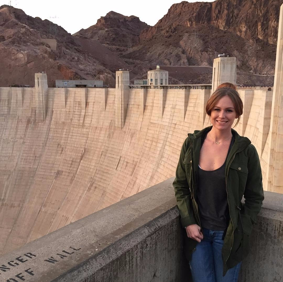 Aaron Kaufman's girlfriend Lauren Moore Knob posing beside Hoover Dam. Aaron Kaufman and Lauren Moore Knob are dating each other since early 2013.