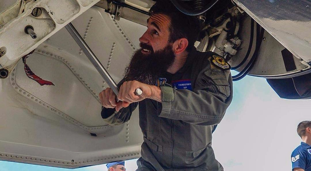 Monkey Garage team member, Aaron Kaufman trying his hand on plane