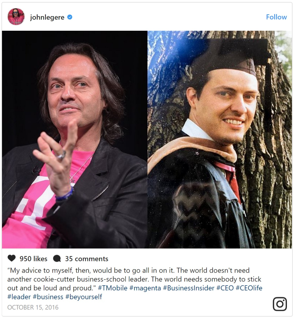 Side by side images of John Legere, left-present Leger, right-Legere on his graduation day