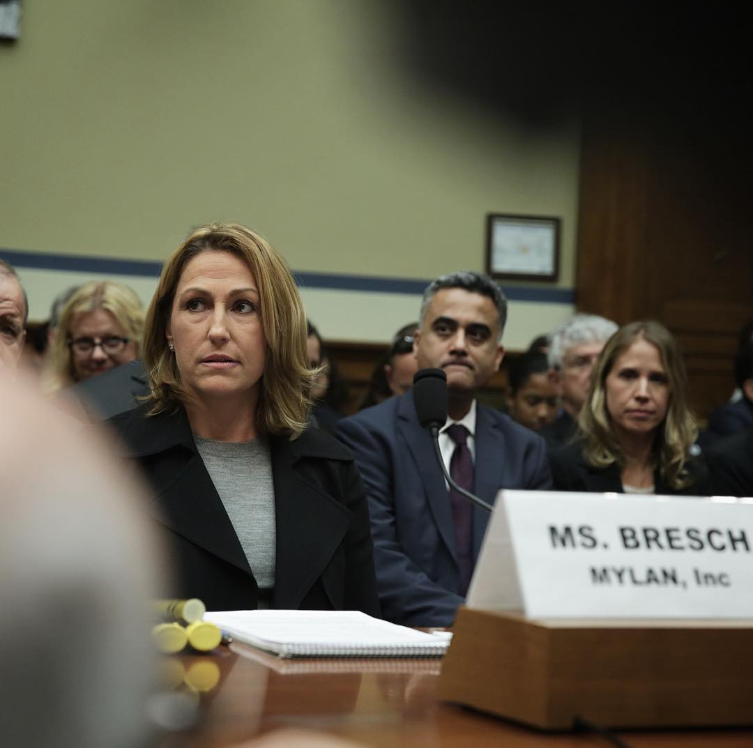 Heather Bresch, the CEO of Mylan, the pharmaceutical company that produces EpiPen, at a hearing regarding its increasing price.