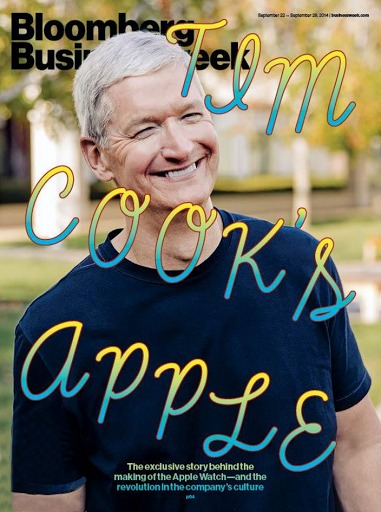 Tim Cook featuring the cover of Bloomberg Business