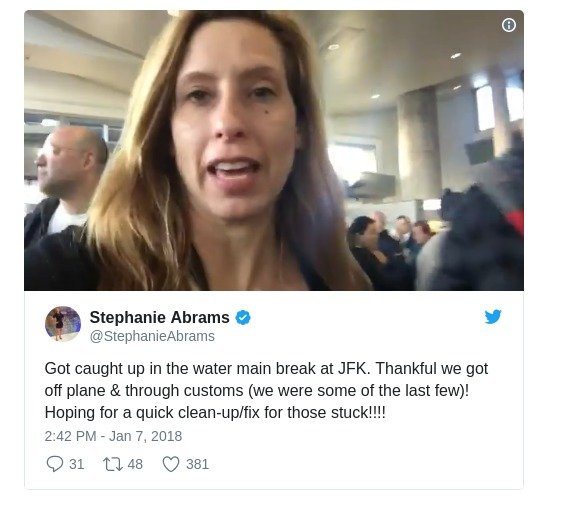 The Weather Channel meteorologist Stephanie Abrams tweeting about the water main break at JFK airport.