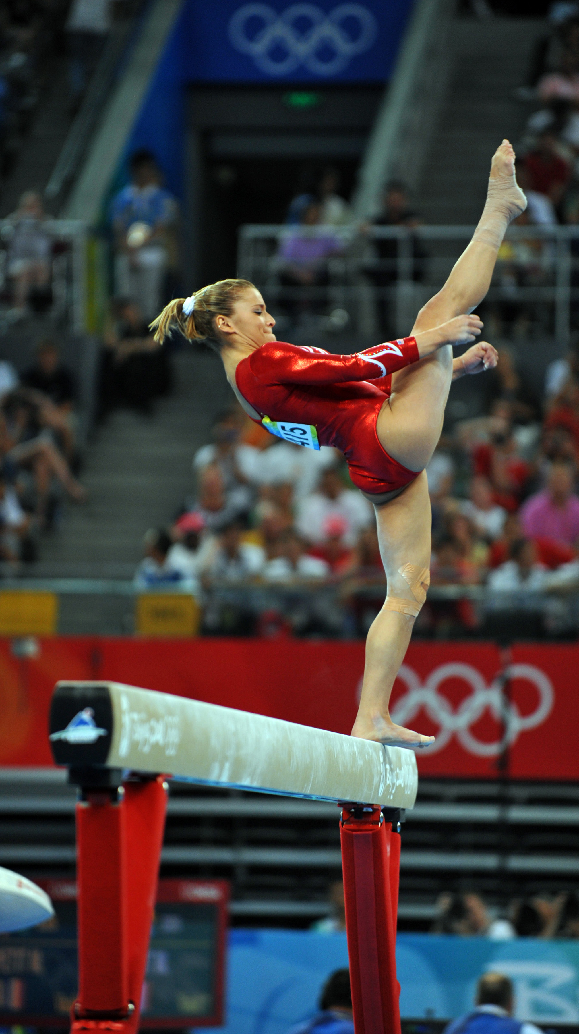 Alicia Sacramone represents United States of America during Beijing Olympics in 2008