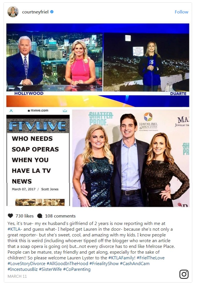 Courtney Friel posted on Instagram about supporting her ex-husband's girlfriend to find a job at KTLA-TV