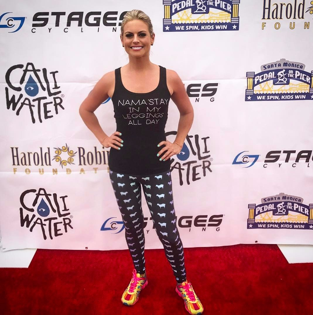 Hot Courtney Freil dressed in leggings and black sleeveless top while attending 7th Annual Pedal on The Peer charity event on June 5, 2017