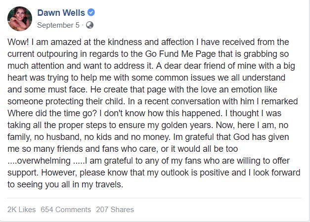 Dawn Wells's Facebook post