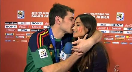 Iker Casillas kissing her then girlfriend Sara Carbonero, when Sara was there to interview him after Spain's victory in World Cup 2010