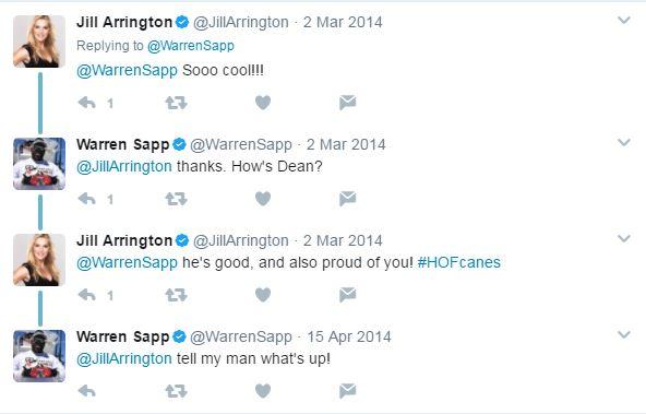 Twitter conversation of Jill Arrington about her husband with Warren Sapp