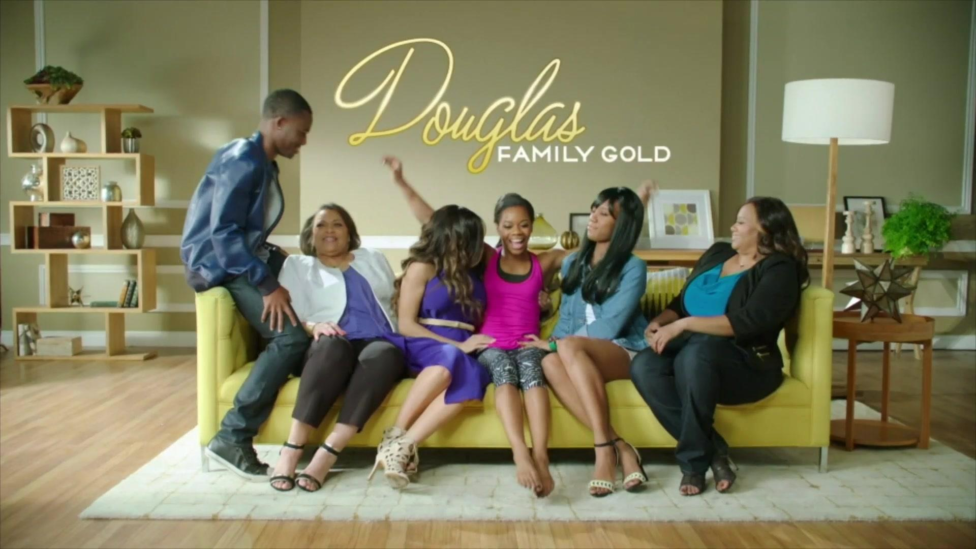 From left : Johnathan Douglas, Carolyn Ford, Arielle Hawkins, Gabby Douglas, Joyelle Douglas and Natalie Hawkins on Douglas Family Gold cast.