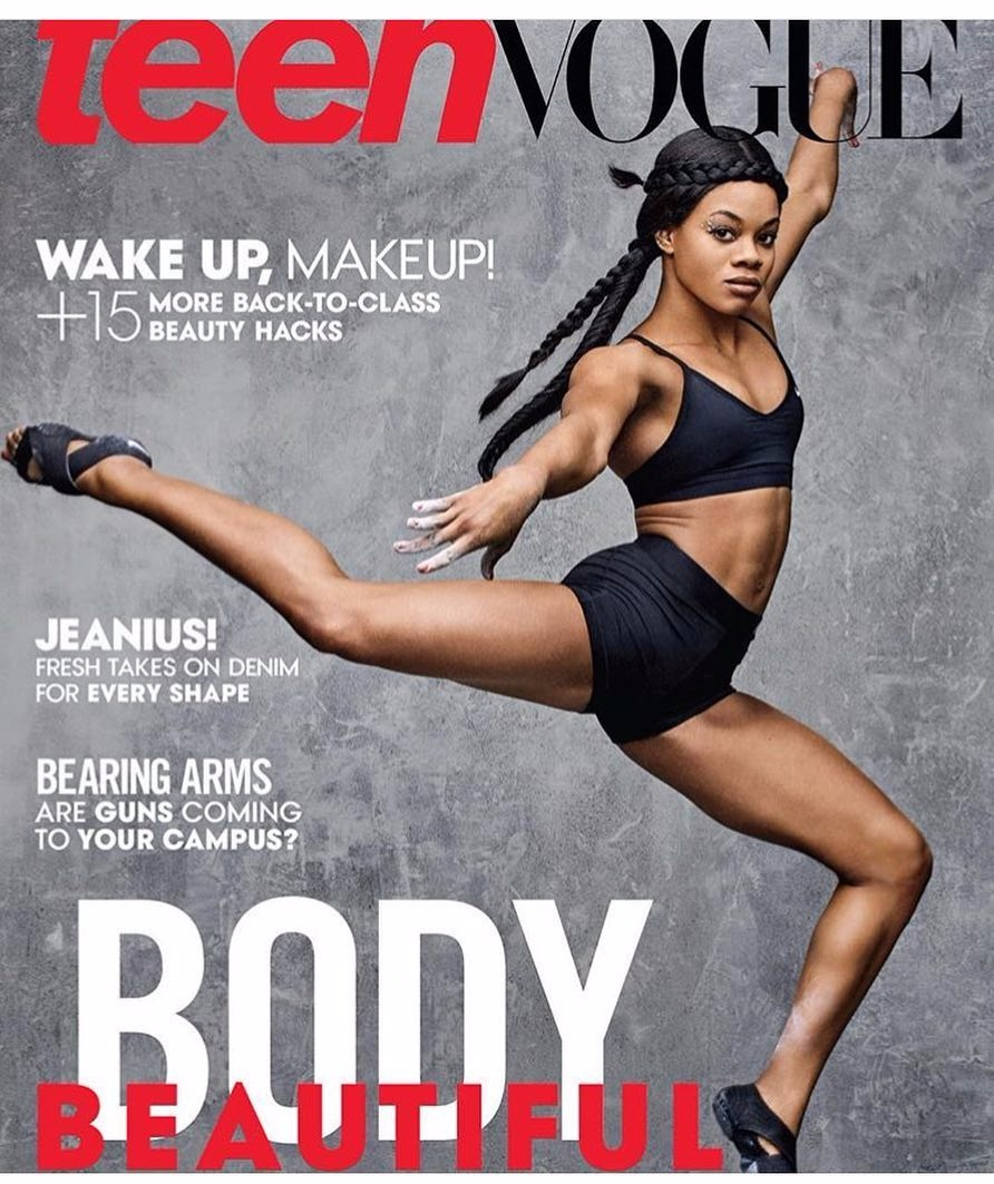 Gabby Douglas graced August 2016 cover of Teen Vogue. The powerful gymnast looks gorgeous ever in her gymnastic pose.