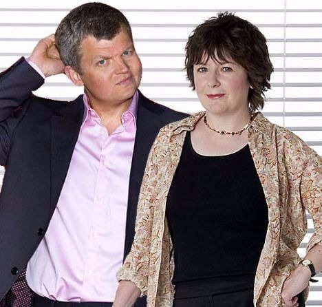 Adrian Chiles with Jane Garvey. The couple was married from 1998 to 2009.