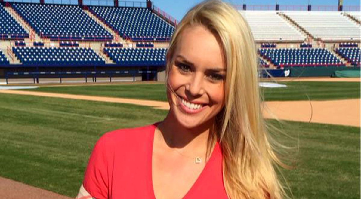 Britt McHenry looks stunning in the red dress. She is a reporter who worked for ESPN