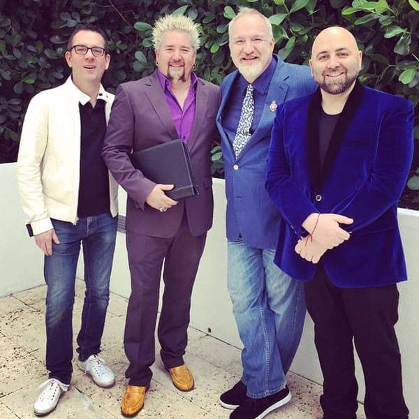 From right to left: Duff Goldman, Art Smith, Guy Fieri and Ted Allen at a massive gay wedding in 2015