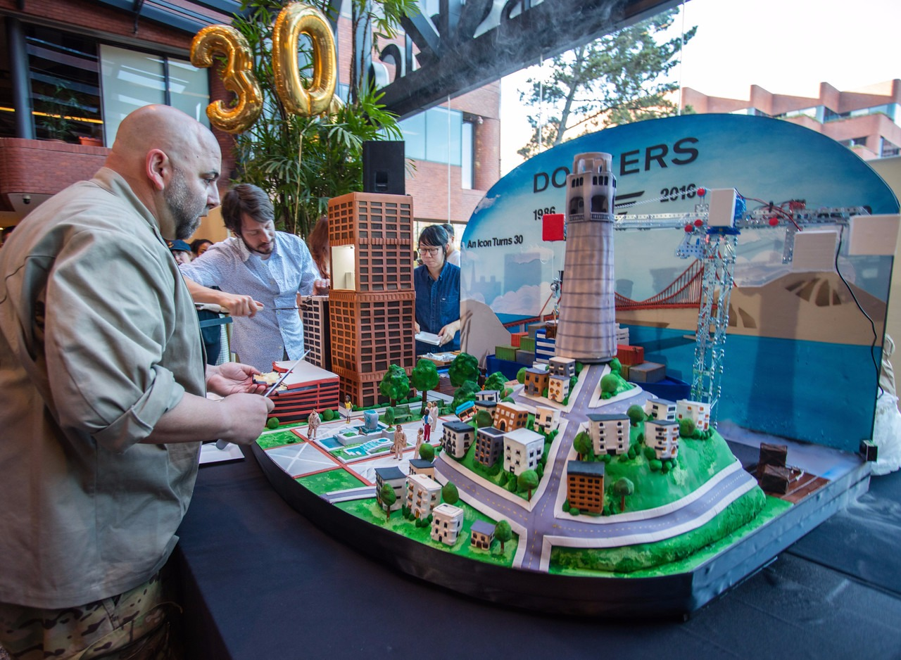 Duff Goldman decorating a cake for 30th Anniversary of Dockers