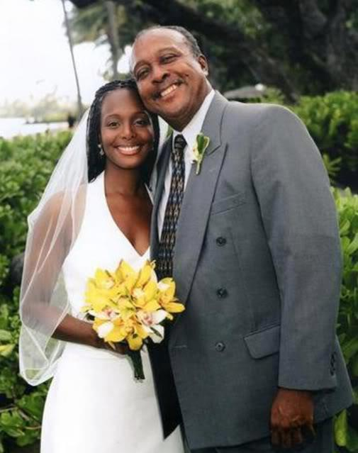 Rebbie Jackson's husband, Nathaniel Brown with his eldest daughter, Stacee at her weddding