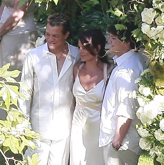 Eddie Van Halen getting married to his second wife, with his son standing as best man