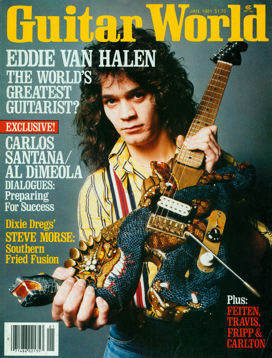 Eddie on the cover of Guitar World with his DragonSnake