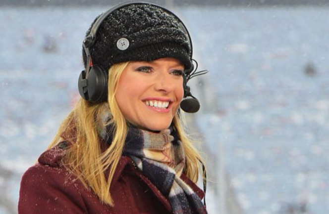 Kathryn Tappen looking beautiful on set with cute smile.