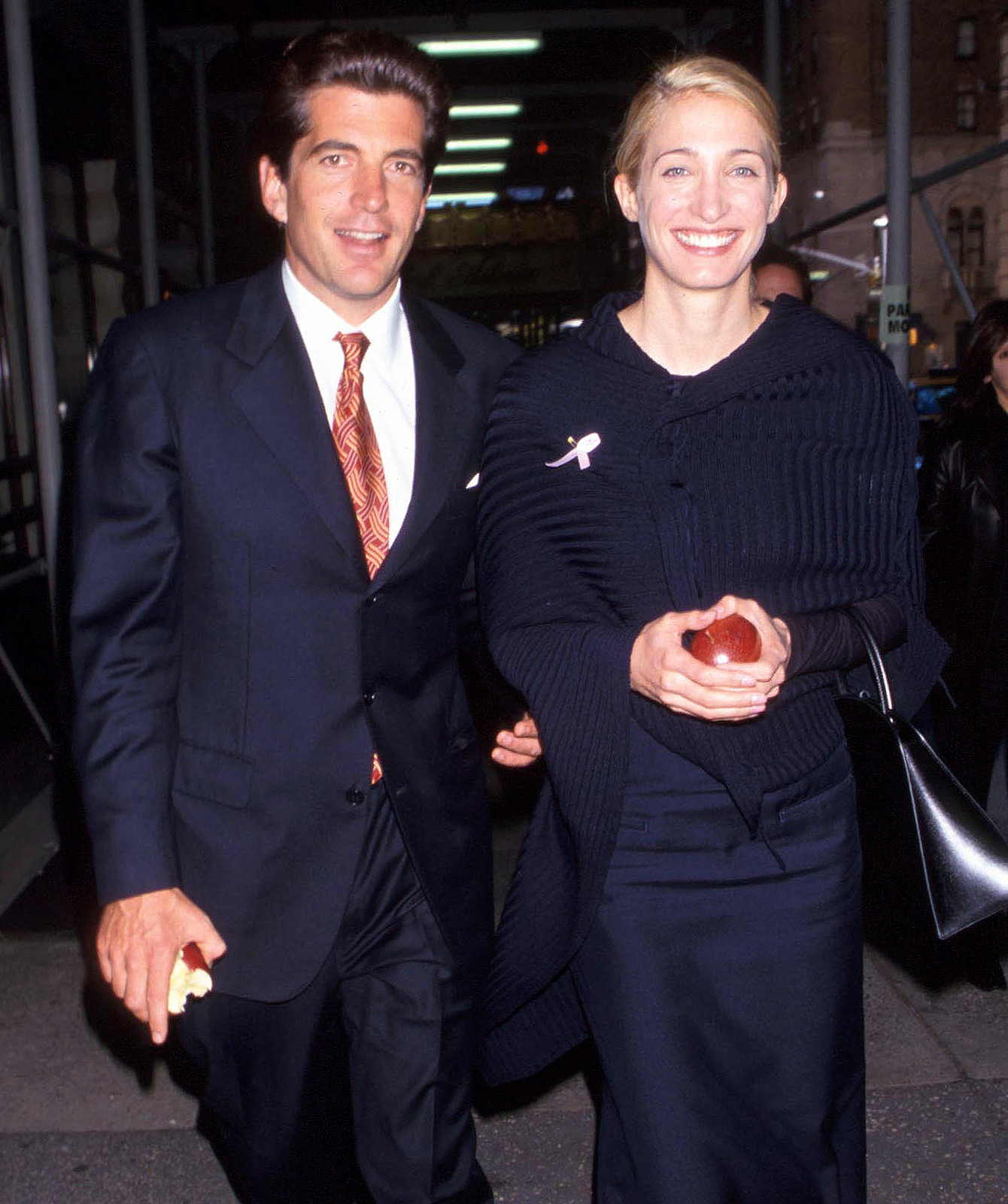 Carole and Anthony Radziwill, both in black dress, seemed happy while walking hand-in-hand.