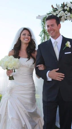 Jennifer Lahmers blushing after sharing vows with Jamie Bosworth