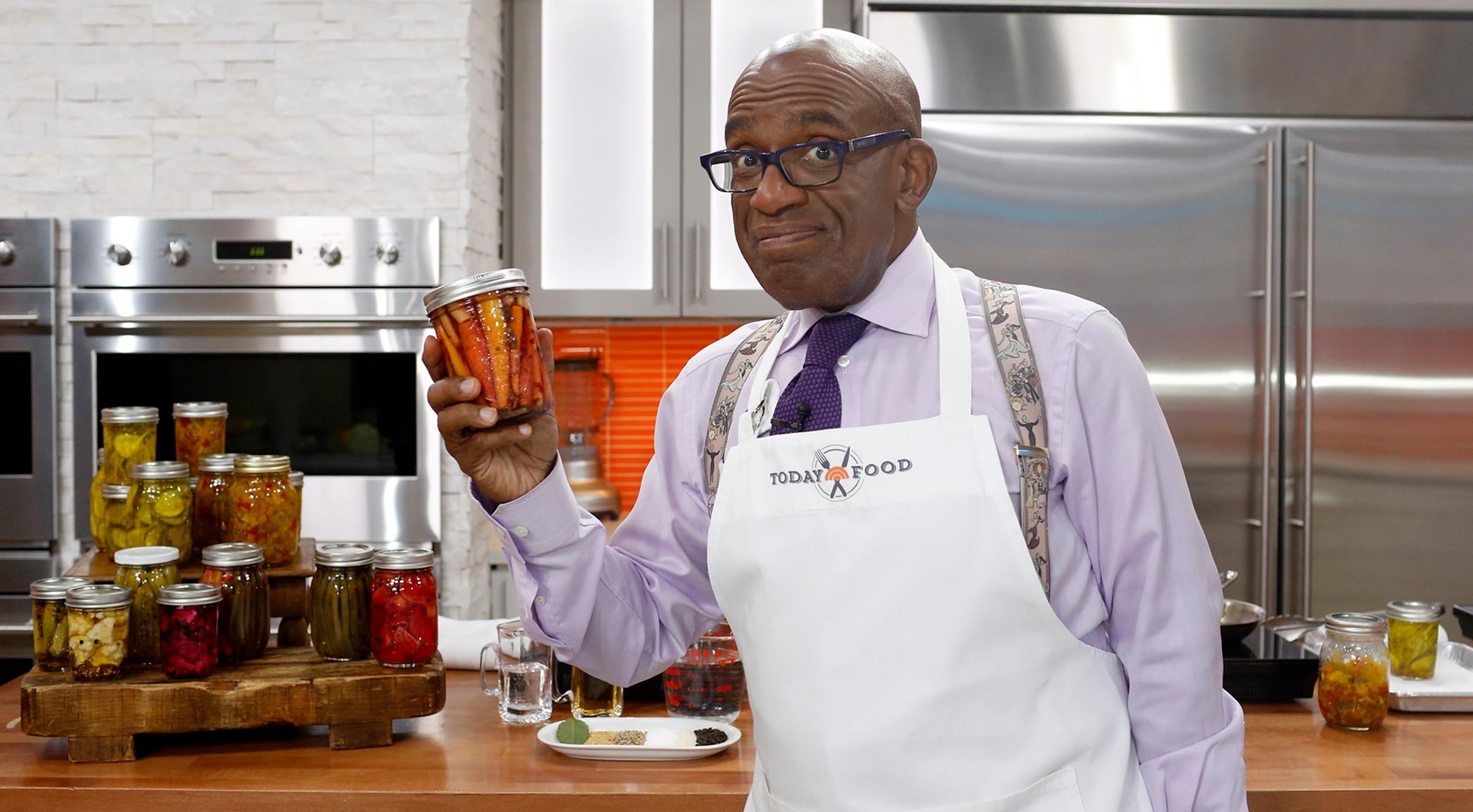 Al Roker holding pickle jar