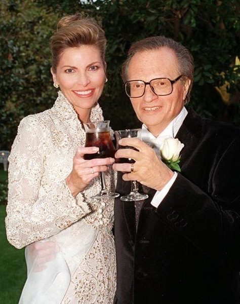 Larry King with his third wife Alene Akins. The third Mrs. King was a Playboy Model, Alene Akins. The two first got married in 1961 and Larry adopted her son Andy in 1962. The couple got divorced the next year. In 1968, he remarried Akins after divorcing Mary Francis Sutphin.