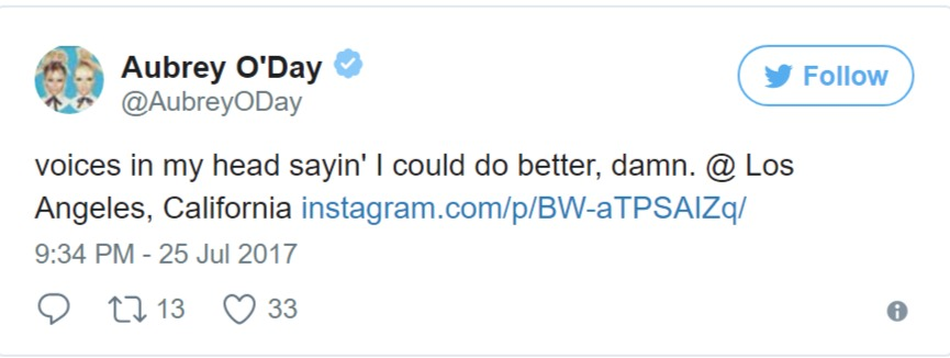 Aubrey O' Day took to Twitter to post a cryptic message about her breakup with Pauly D