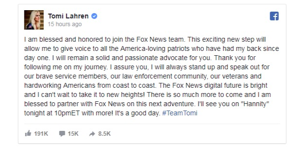 Tomi Lahren sharing a news of debuting Fox with Hannity