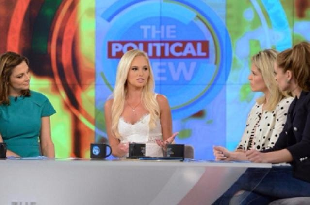 Tomi Lahren sharing her views about abortion on the talk show The View