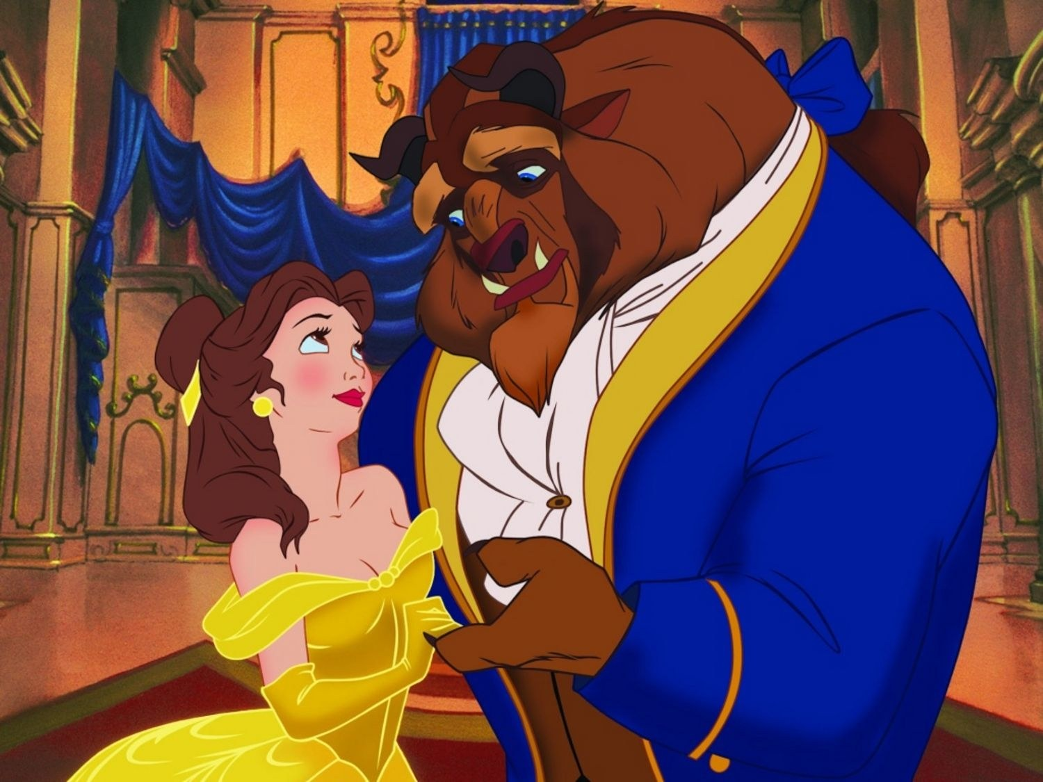 Belle and the Beast from the Disney movie Beauty and the Beast