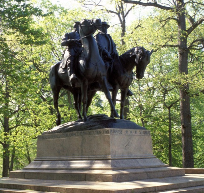 Standing statue in a park in Baltimore, Maryland  of Confederate Gens. Robert E.Lee and Stonewall Jackson