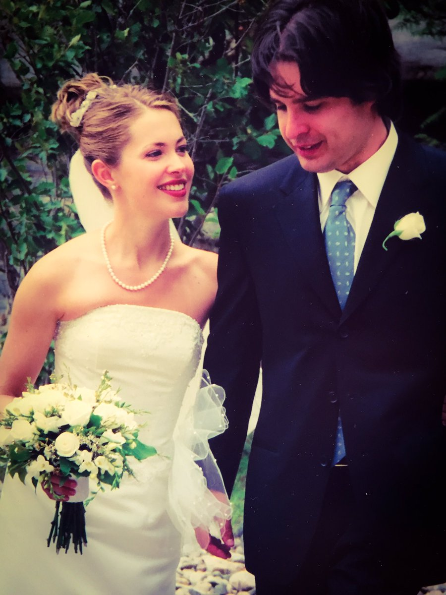 Pascale Hutton and husband, Danny Dorosh in their wedding dresses