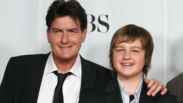 Charlie Sheen and Angus T Jones sharing a smile