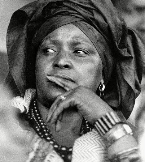 Winnie Madikizela-Mandela looking away from the camera