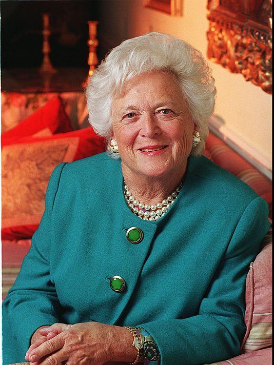 Barbara Bush wearing her favorite pearls and green dress