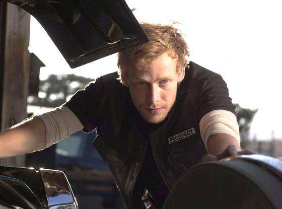 """Johnny Lewis as  Edward Kip """"Half Sack"""" Epps on the set of Sons of Anarchy"""