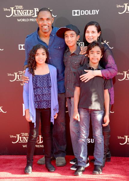Jason George, his wife, Vandana Khanna and children Jasmine George, Arun George, Nikhil George, at the El Capitan Theatre on April 4, 2016 in Hollywood, California