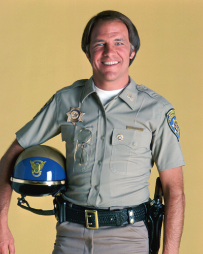 Actor Robert Pine as Sergeant Joseph Getraer in ChiPs. Before the show, Robert Pine appeared in TV shows including Lost in Space,  The Wild Wild West, and Gunsmoke